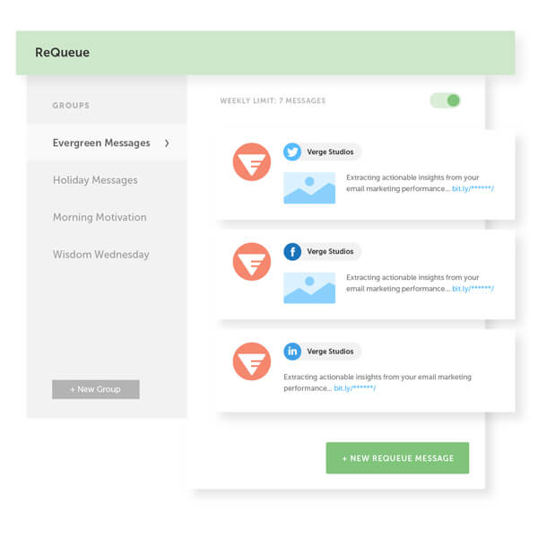Use ReQueue to send out your social messages at the best possible times for all your networks with CoSchedule.